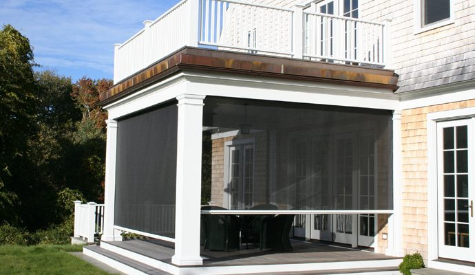 Retractable screens shade and shutter systems inc for Roll up screens for porches